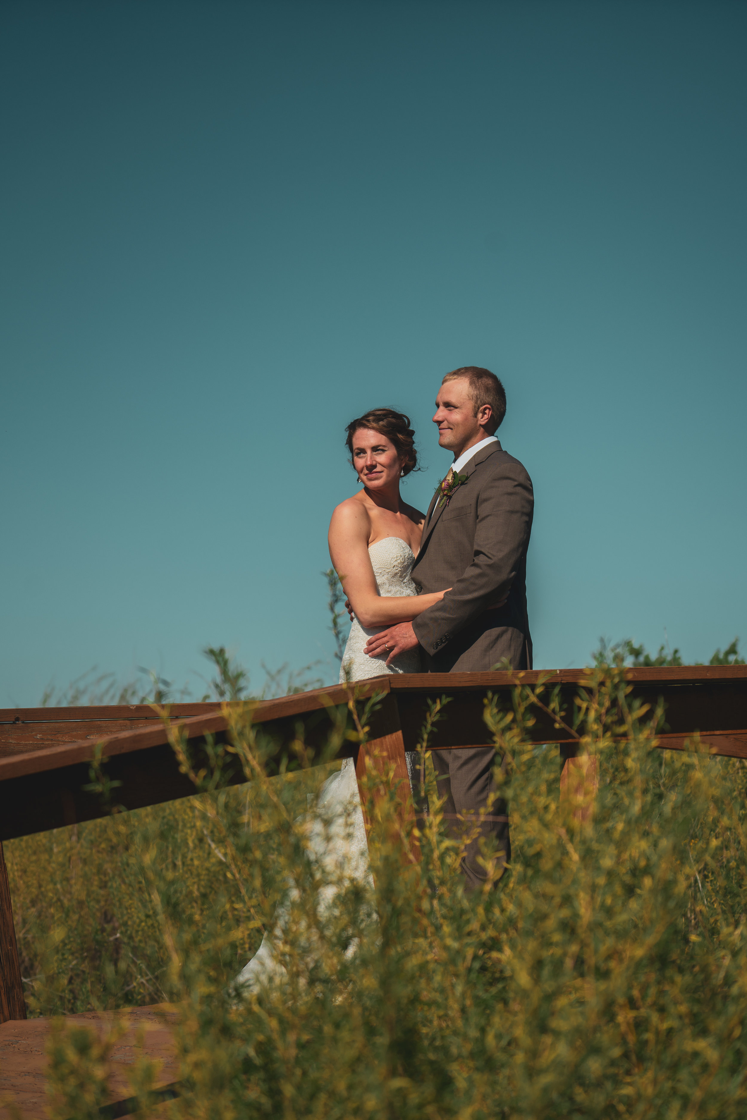 The bride and groom after their wedding in Lewistown, Montana