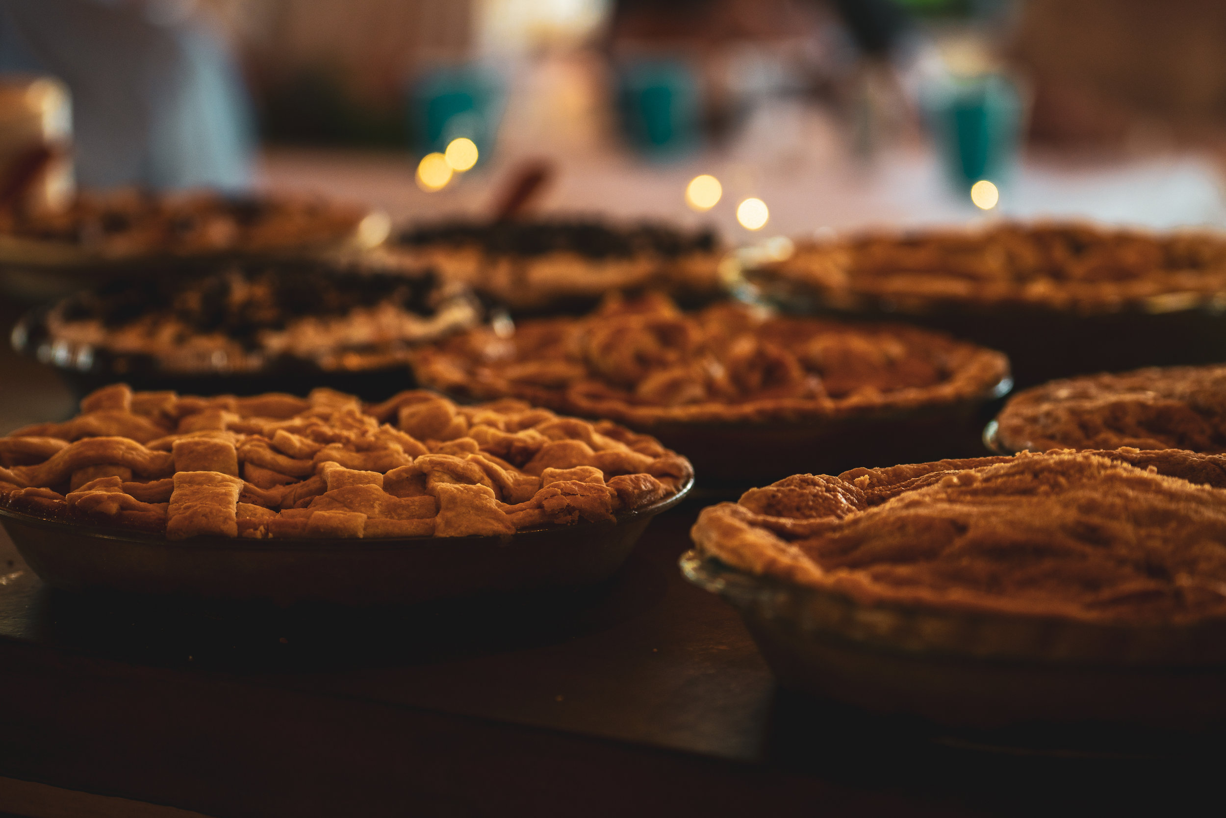 Pies served during the wedding reception in Lewistown, Montana