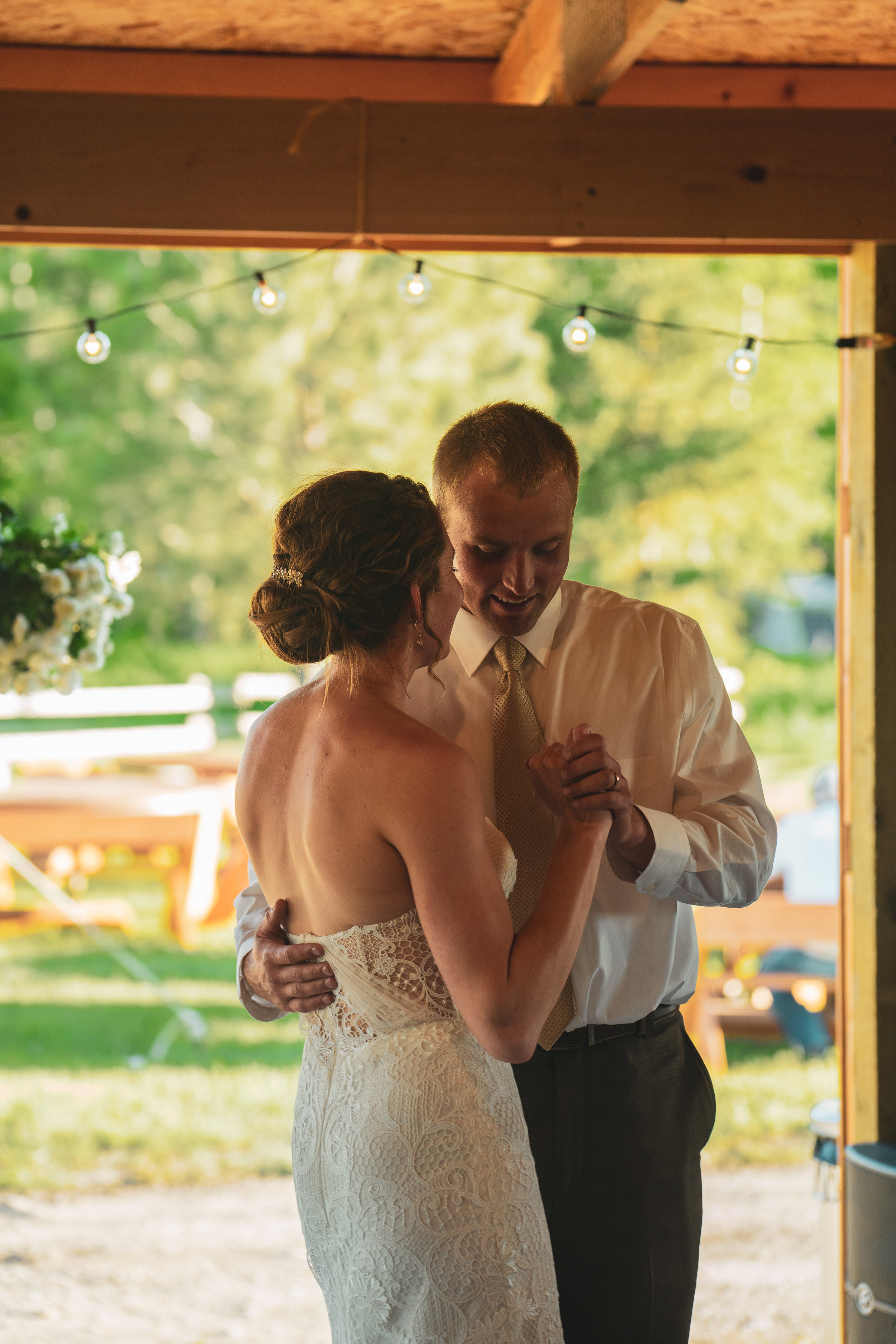 The bride and groom dance during their wedding reception in Lewistown, Montana