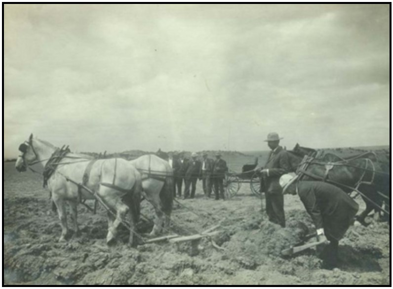 Photo of slip being pulled behind horses. Photo courtesy of www.kansasmemory.org.
