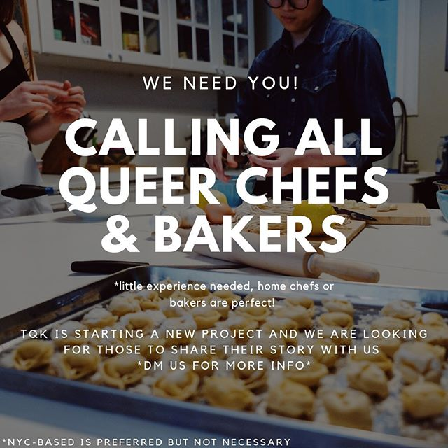 TQK fam—we need you ✨ we've been working overtime to bring you something AWESOME but before we can share the little deets, we need YOU to help us out! If you're interested in participating, please fill out the link in our bio 💕 as always, we thank you all so much for supporting us and helping us create a beautiful, queer, food community 🌈