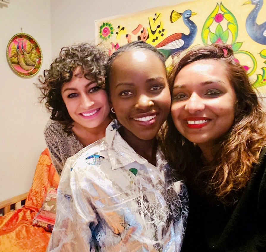Rage, Lupita & Thanu, BTS while recording Episode 2 of Bad Brown Aunties. Lupita, Thanu & Rage attended Hampshire College as international students from 2003-2007.