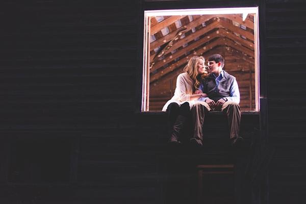 Sweet barn engagement photo