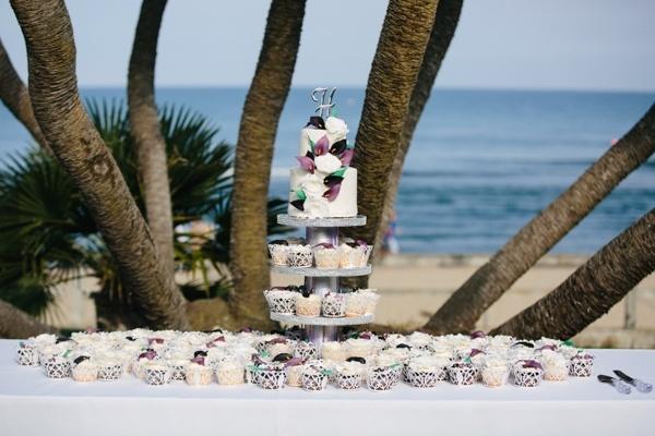 Gorgeous purple and white wedding cake