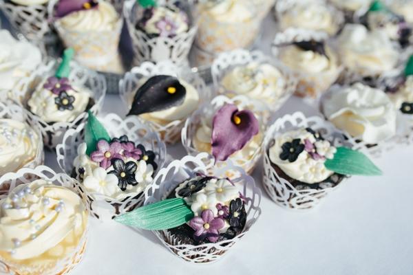 Gorgeous purple and white wedding cupcakes