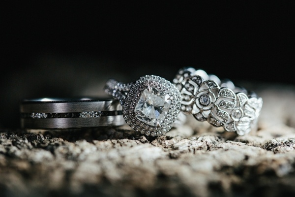 The wedding and engagement rings. Gorgeous!