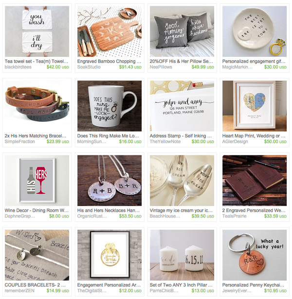 Engagement gift ideas from Etsy