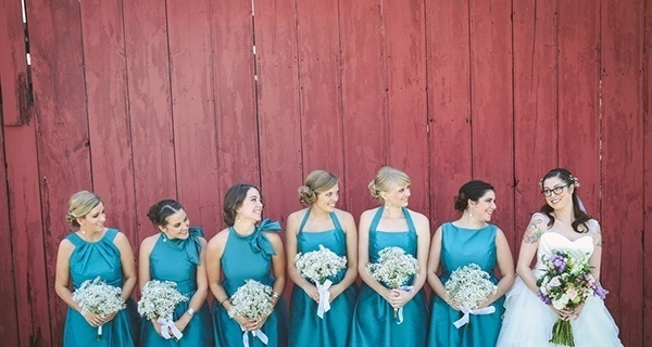 Bride and her bridesmaids in blue