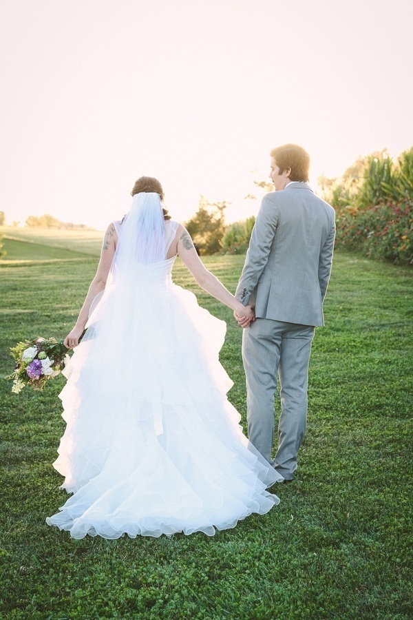 Gorgeous must-have photo of the bride in a fluffy dress with her groom!