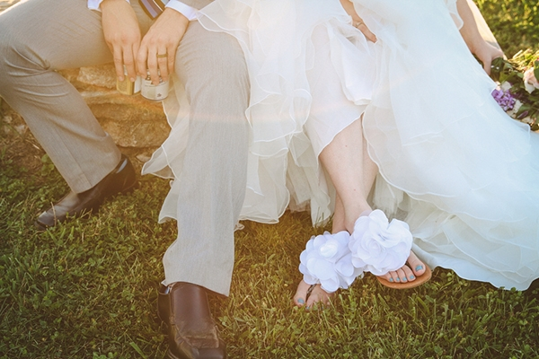 The bride's quirky wedding sandals -- love these!
