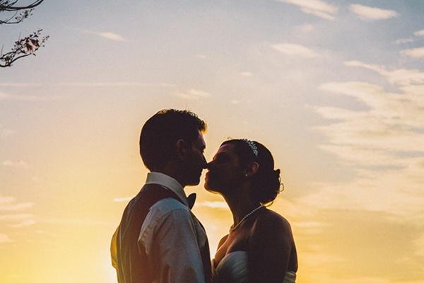 Bride groom romantic and elegant outdoor wedding photo