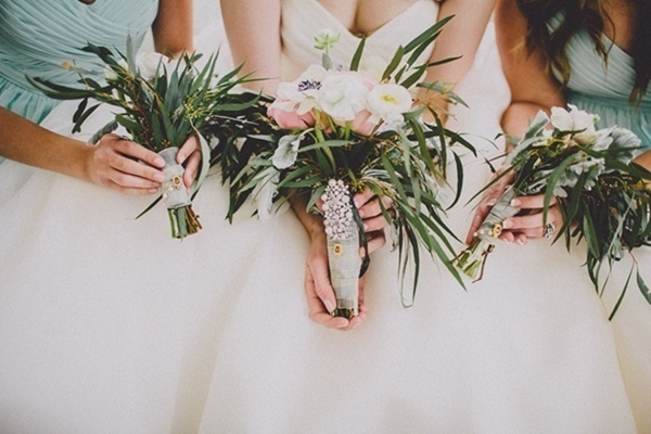 Bride bridesmaids wedding bouquet