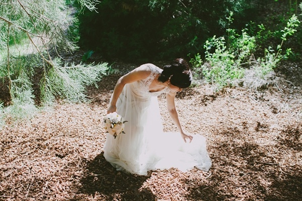Gorgeous and romantic forest wedding. Love this bride's dress!