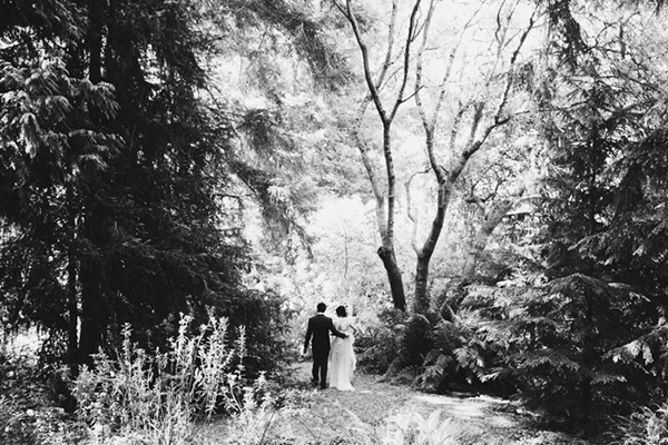 Romantic bride and groom wedding forest photo