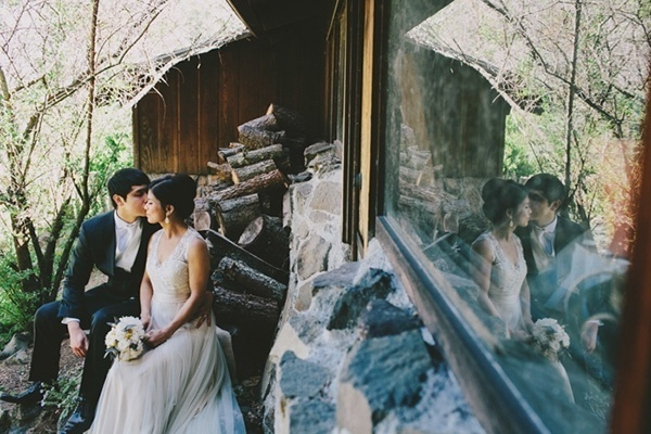Lovely photo of the bride and groom at their romantic forest wedding