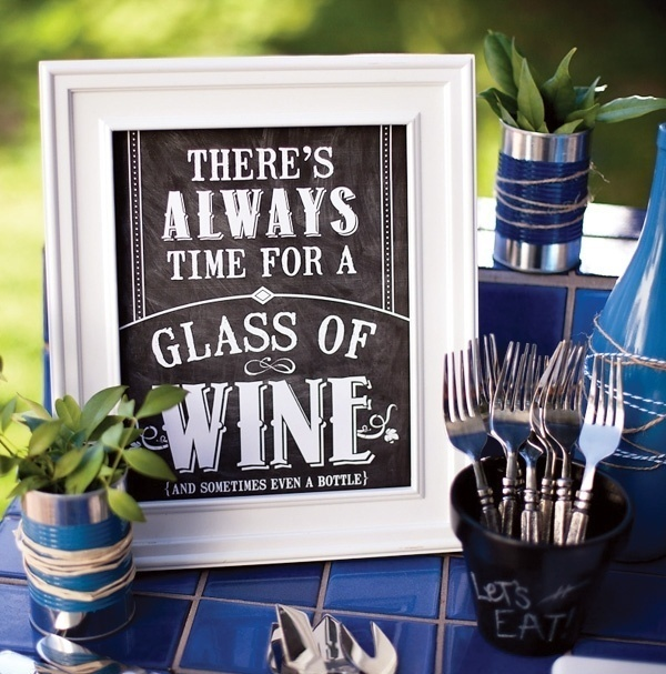 Fun glass of wine sign for a wine tasting engagement party!