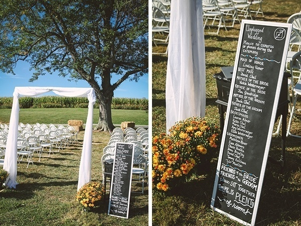 Wedding ceremony setup - simple and rustic