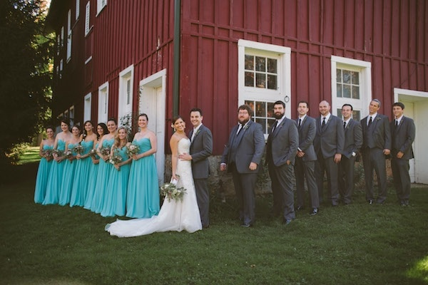 Lovely farm shot of bridesmaids and groomsmen!