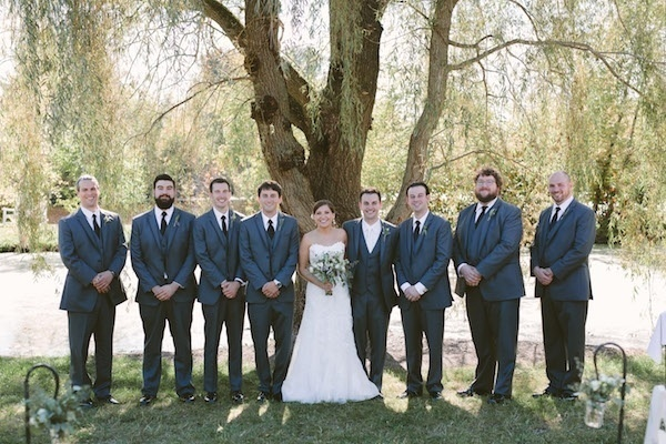 Bride with the groomsmen and her groom!