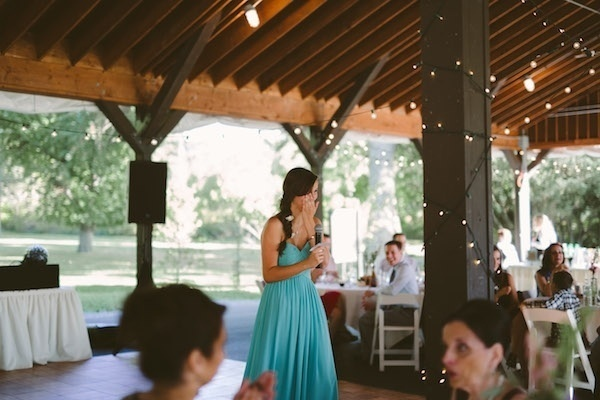 Sister giving a speech at her sisters wedding!