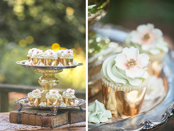 Gold cupcake display for a dessert table