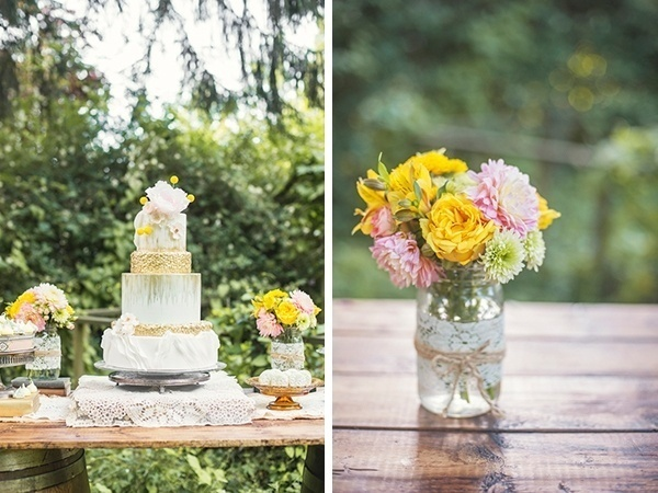Romantic pink and gold styled shoot