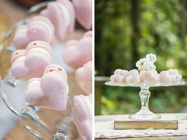 Pink heart shaped macaroon dessert display