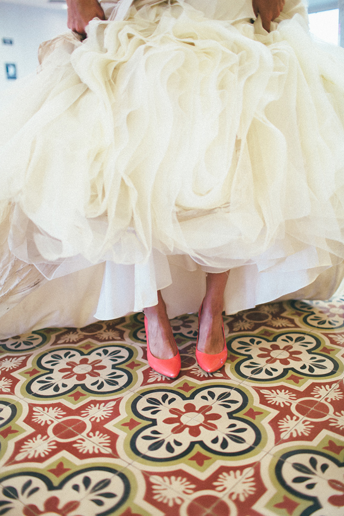 Coral colored wedding shoes