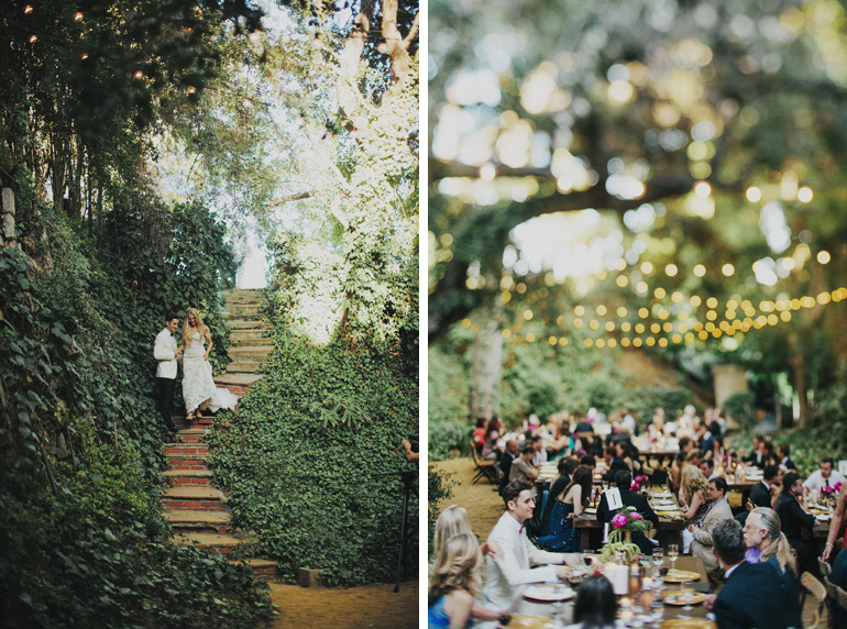 Glam backyard Bel Air wedding reception