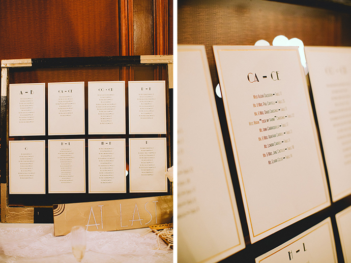 Art deco inspired seating chart