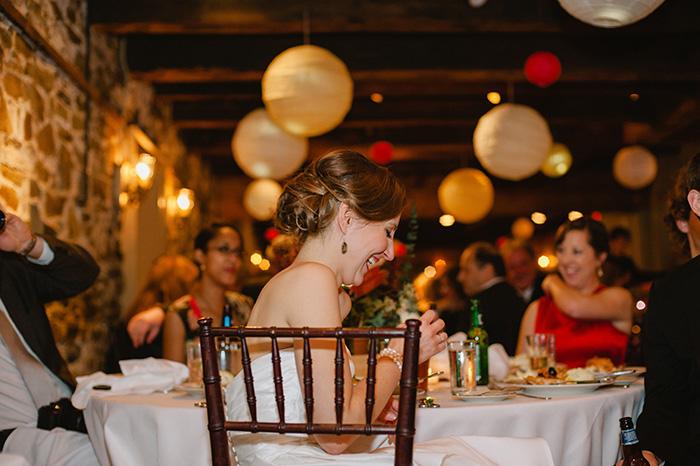 Cozy indoor restaurant wedding reception