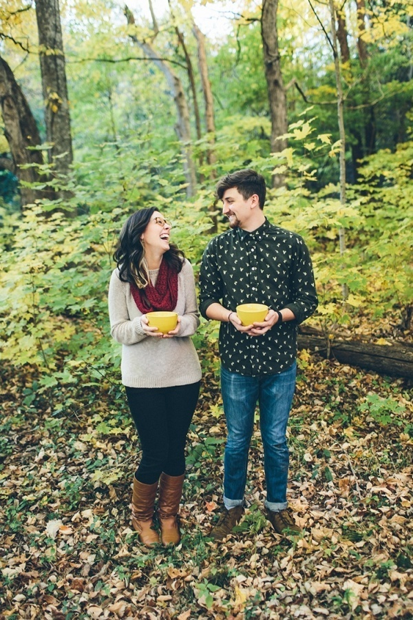 Cozy fall engagement photos outdoor with soup!