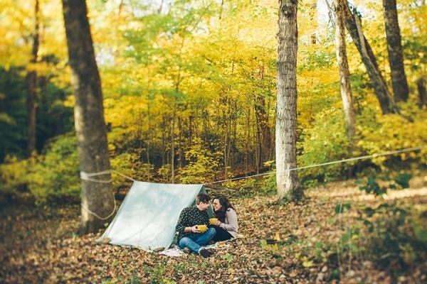 Outdoor engagement under a DIY fort