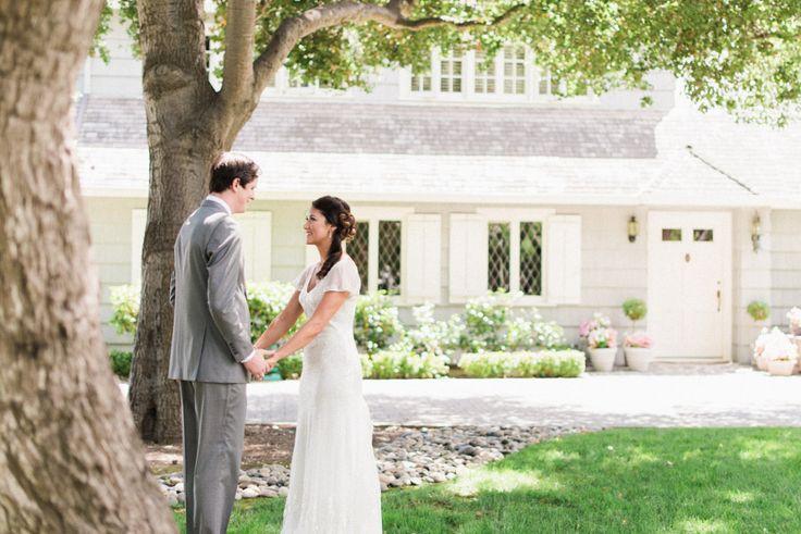 Bride and groom romantic wedding photo