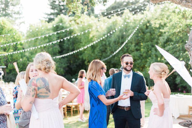 Wedding guests backyard wedding