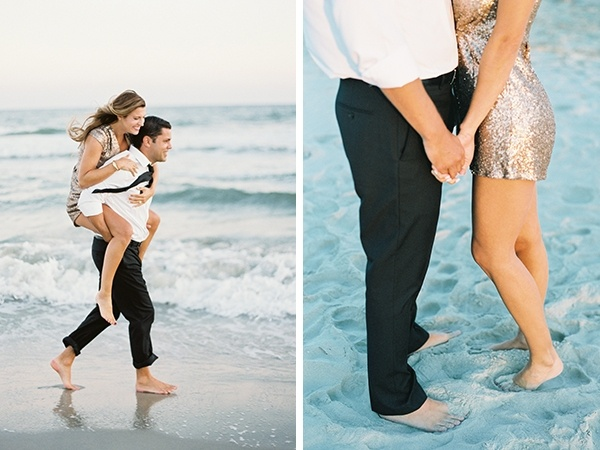 Sweet beach engagement in a sequined romper!