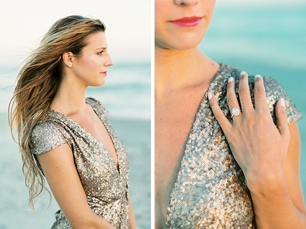 Engagement photos with a gold sequined romper