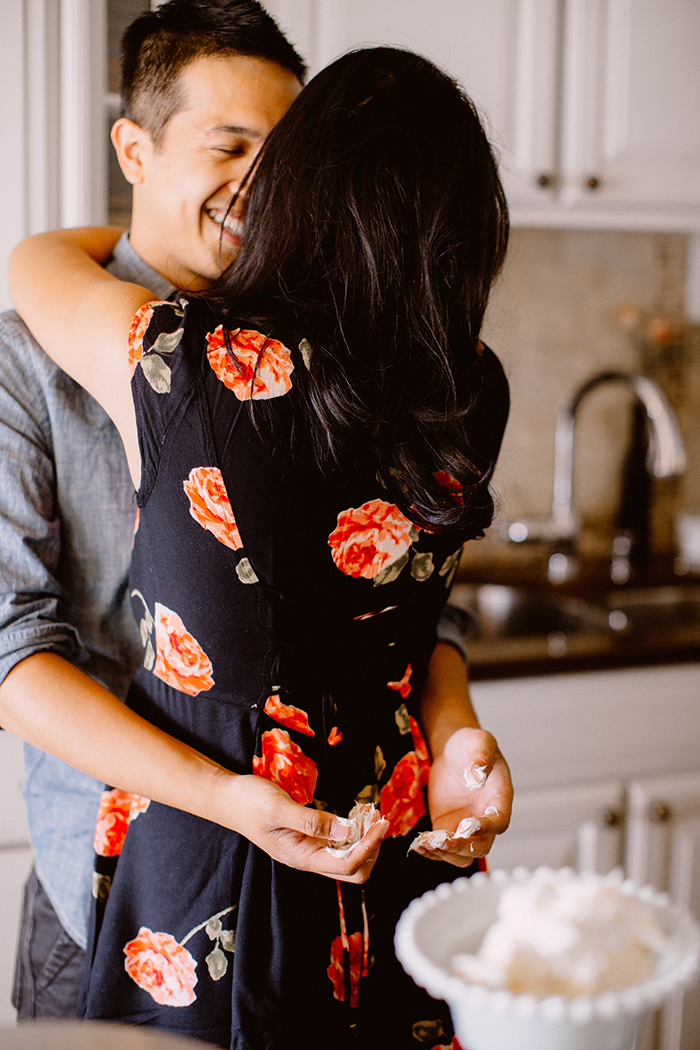 Adorable engagement photos at home