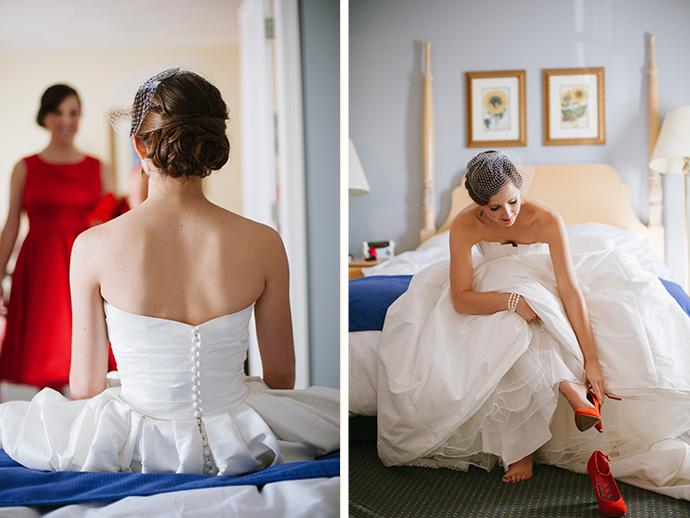 Bride wedding dress getting ready