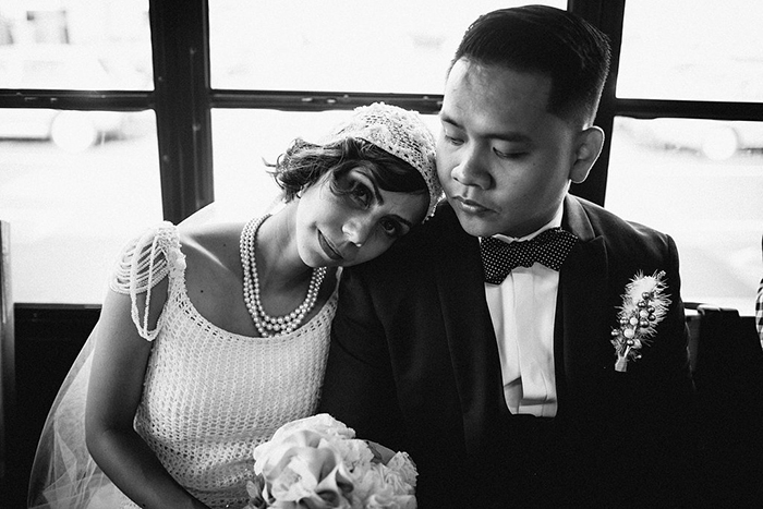 Lovely vintage portrait of the bride and groom