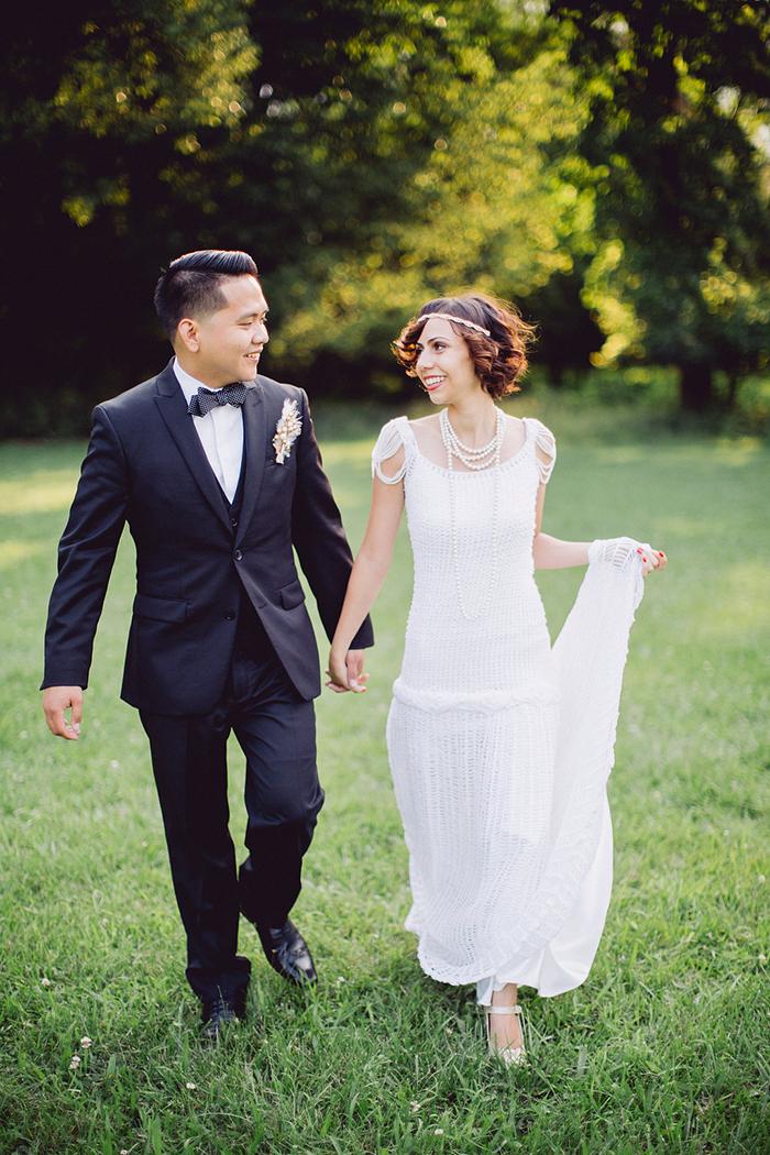 Dapper vintage bride and groom style