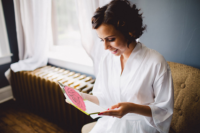 Gorgeous vintage bride getting ready for the big day