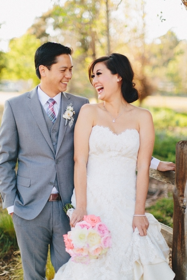An adorable and in love bride and groom on their wedding day.