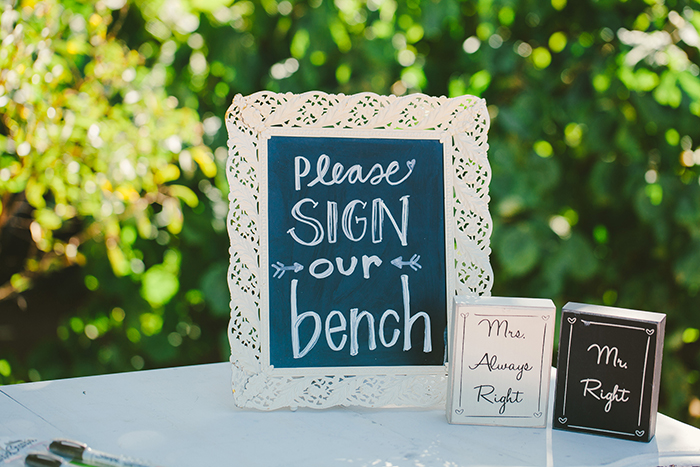 Cute guest book idea – instead of a book, a bench!