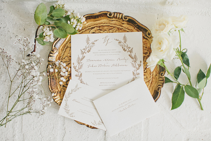 Simple rustic wedding stationery suite