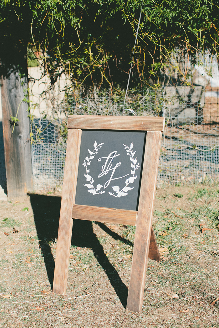 Beautiful laurel monogram for a wedding sign