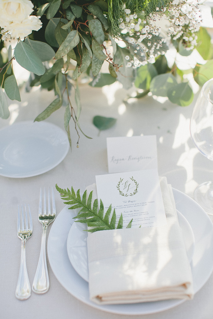 White and green wedding tablescape decor