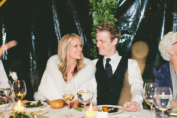 Gorgeous photo of the bride and groom at the end of the night