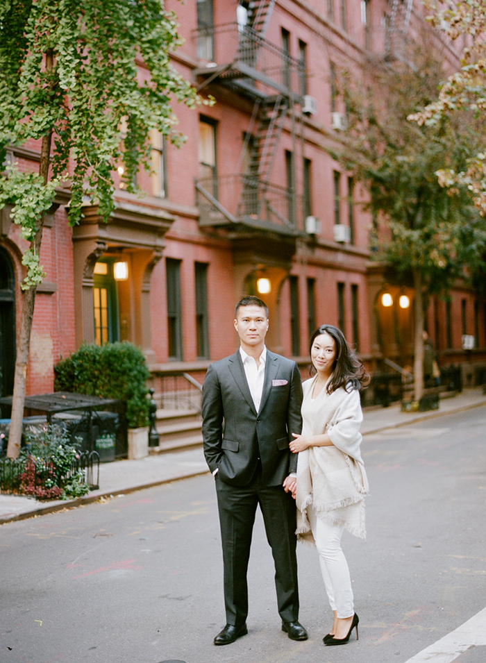 Casual and chic fall engagement photo