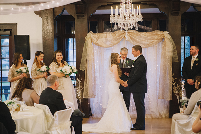 Beautiful photo of a rustic gold and white ceremony